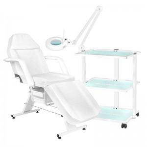 Kosmetologinė lova 202 BASIC + Kosmetologinis vežimėlis 1040 + LUPA LED S5 Lempa