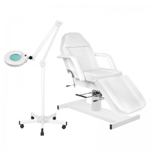 Rinkinys: Hidraulinė kosmetologinė lova A-210 + Kosmetologinė lempa su lūpa S5