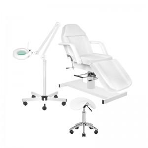 Rinkinys: Hidraulinė kosmetologinė lova A-210 + Meistro kėdutė AM-302 + Kosmetologinė lempa su lūpa S5