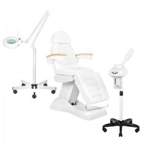 Rinkinys: Elektrinė kosmetologinė lova LUX 3M+ Kosmetologinis garintuvas JY10 + Kosmetologinė lempa su lūpa S5