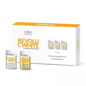 FARMONA REVOLU C WHITE Aktyvus balinimo rinkinys: 10 * aktyvaus balinimo koncentrato, 10 * kaukės aktyvatoriaus - gryno vitamino C, 10 * skaistinančios kaukės - pagrindo 10x5ml