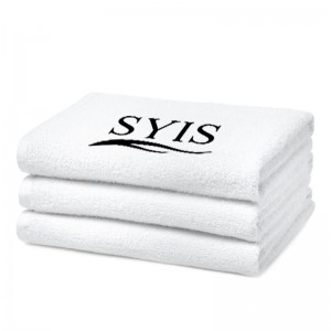 SYIS kilpinis rankšluostis su logotipu, 70x140 - baltas