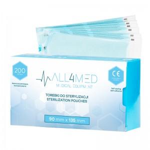 Sterilizavimo maišeliai autoklave ar sterilizuotų įrankių laikymui 90MM X 135 MM 200SZT