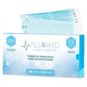 Maišeliai sterilizavimui autoklave ALL4MED  135MM X 250MM 200PCS
