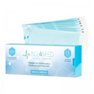 Sterilizavimo maišeliai autoklave ar sterilizuotų įrankių laikymui  ALL4MED 90MM X 230 MM 200SZT