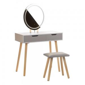 Tualetinis staliukas ANJA W2 su veidrodžiu ir kėdute, baltas