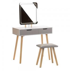 Tualetinis staliukas ANJA W3 su veidrodžiu ir kėdute, baltas